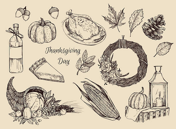 hand drawn vector illustration - thanksgiving day. design elemens - pumpkin pie 幅插畫檔、美工圖案、卡通及圖標