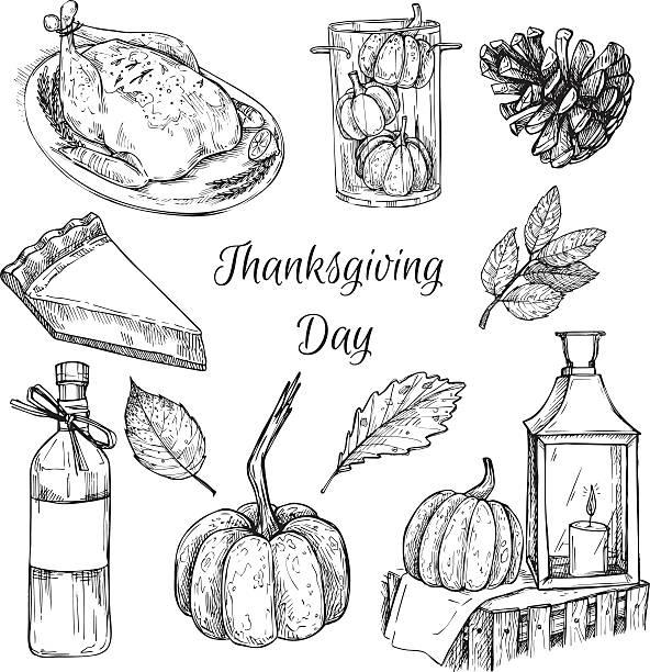 hand drawn vector illustration - thanksgiving day. design elements - pumpkin pie 幅插畫檔、美工圖案、卡通及圖標