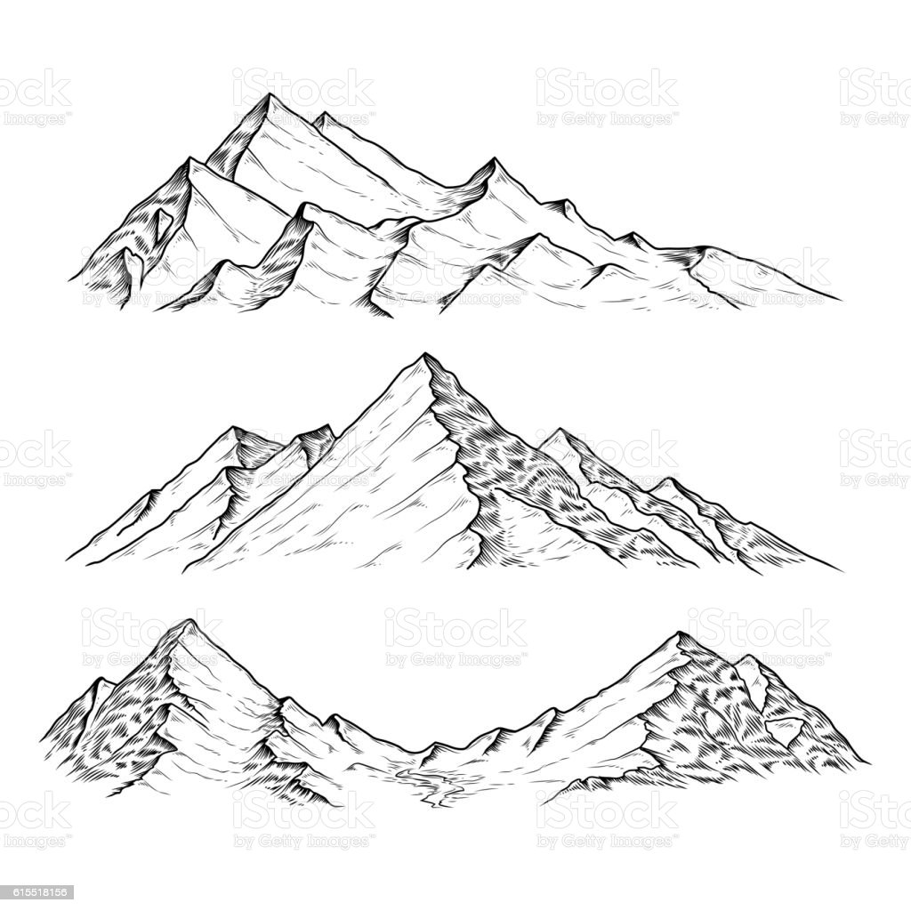 Line Drawing Mountain : Hand drawn vector illustration the mountains stock