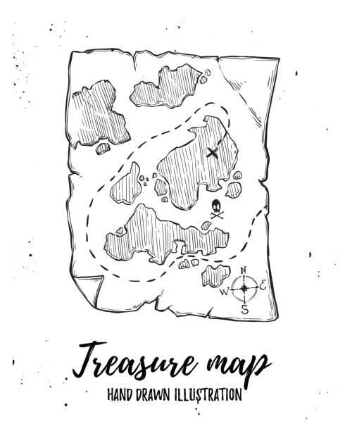 illustrations, cliparts, dessins animés et icônes de main sur illustration vectorielle - carte au trésor. éléments de conception dans le style de croquis. parfait pour les brochures, dépliants, affiches, cartes, estampes - cartes au trésor