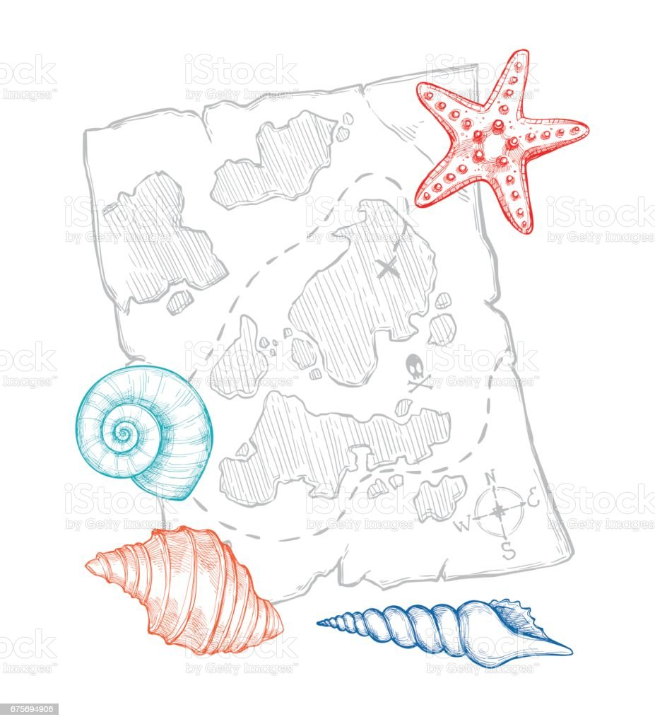 Hand drawn vector illustration - treasure map with sea shells and starfish. Design elements in sketch style. Perfect for invitations, greeting cards, posters, prints, banners, flyers etc royalty-free hand drawn vector illustration treasure map with sea shells and starfish design elements in sketch style perfect for invitations greeting cards posters prints banners flyers etc stock vector art & more images of ancient