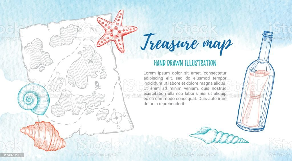 Hand drawn vector illustration - treasure map with sea shells, starfish and bottle. Design elements in sketch style. Perfect for invitations, greeting cards, posters, prints, banners, flyers. Watercolor background vector art illustration