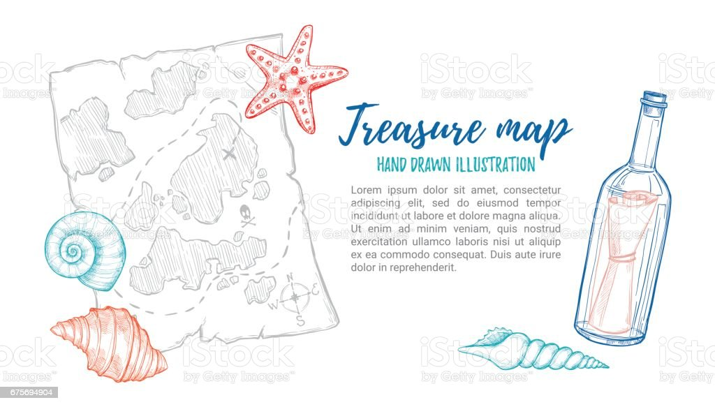 Hand drawn vector illustration - treasure map with sea shells, starfish and bottle. Design elements in sketch style. Perfect for invitations, greeting cards, posters, prints, banners, flyers etc vector art illustration