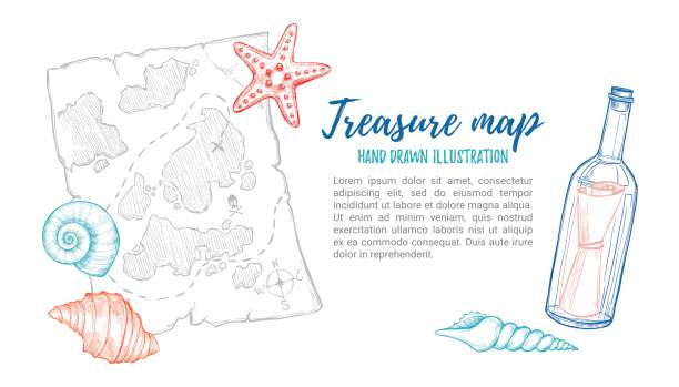 ilustraciones, imágenes clip art, dibujos animados e iconos de stock de hand drawn vector illustration - treasure map with sea shells, starfish and bottle. design elements in sketch style. perfect for invitations, greeting cards, posters, prints, banners, flyers etc - fondos de mapa del tesoro