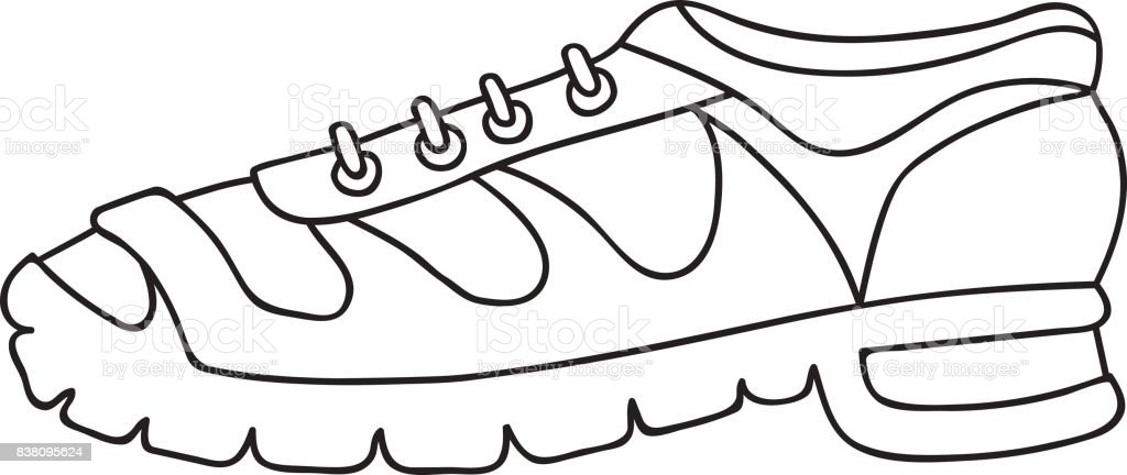 Hand Drawn Vector Illustration Trendy Sport Sneakers With