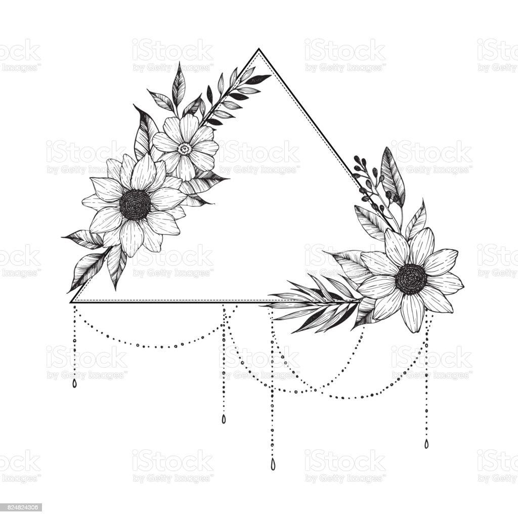 Ilustración de vector dibujado a mano - triángulo con flores y hojas. Ramo floral. Ideal para invitaciones, tarjetas de felicitación, tatuaje, textiles, grabados, carteles etcetera - ilustración de arte vectorial
