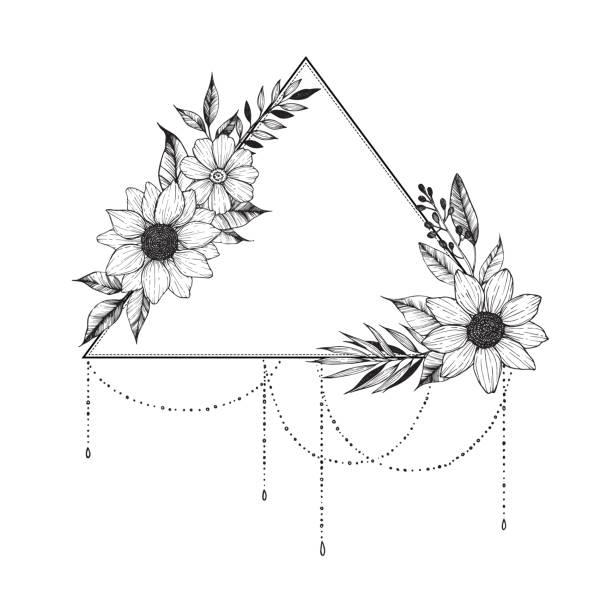 illustrations, cliparts, dessins animés et icônes de illustration vectorielle de dessinés à la main - triangle avec fleurs et feuilles. bouquet floral. parfait pour les invitations, cartes de souhaits, tatouage, textiles, estampes, affiches, etc. - tatouages de fleurs