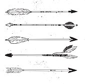Hand drawn vector illustration.  Vintage decorative arrows collection.  Tribal design elements.
