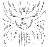 Hand drawn vector illustration.  Vintage decorative collection.  Tribal design elements. Wild & free
