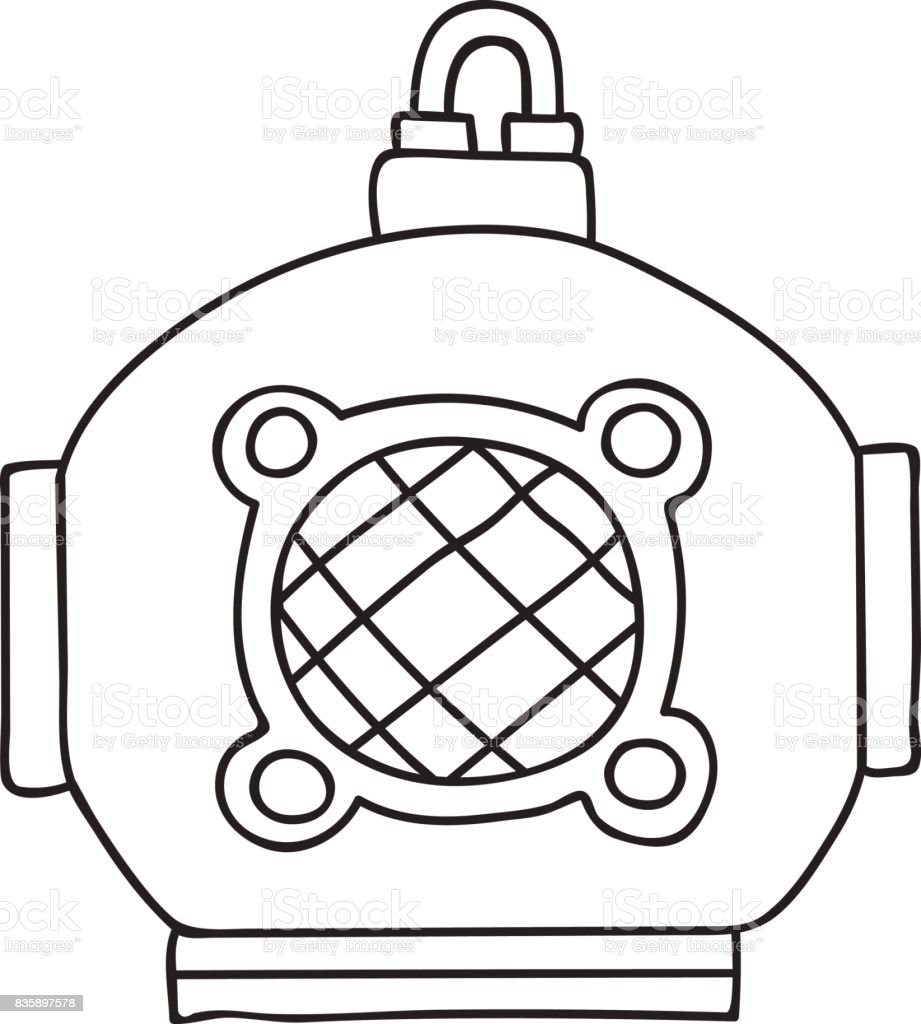 hand drawn vector illustration vintage scuba deep sea diving helmet