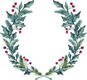 Hand drawn vector illustration - watercolor wreath. Christmas Wreath. Perfect for invitations, greeting cards, quotes, blogs, Wedding frames, posters and more.