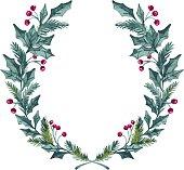 Hand drawn vector illustration - watercolor wreath. Christmas Wreath