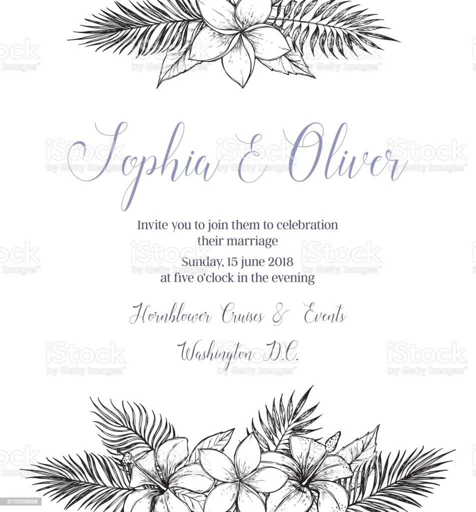 Hand drawn vector illustration - wedding invitation with bouquets of tropical flowers and palm branches. Summer time. Perfect for invitations, greeting cards, blogs, posters and more. vector art illustration