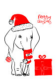 Hand drawn vector illustration with a cute baby elephant celebrating celebrating a Merry Christmas - isolated on white background for print cards and web banner