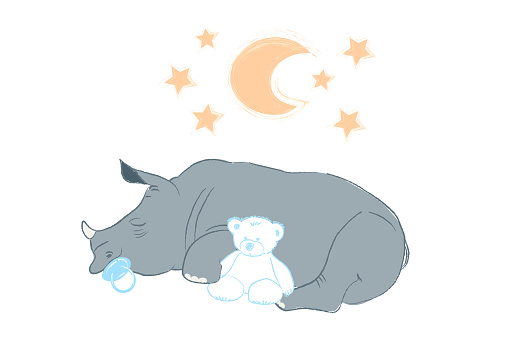 Hand drawn vector illustration with a cute baby rhinoceros sleeping celebrating new birth