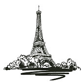 hand drawn vector illustration with Eiffel tower on white background. vector eps 8