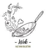 Hand drawn vector illustration - Wok. Wok pan, chinese noodles, tomato, pepper, shrimp, olive, basil etc. Asian fast food