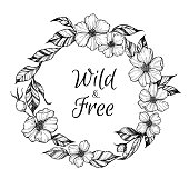 Hand drawn vector illustration - wreath with flowers and leaves.