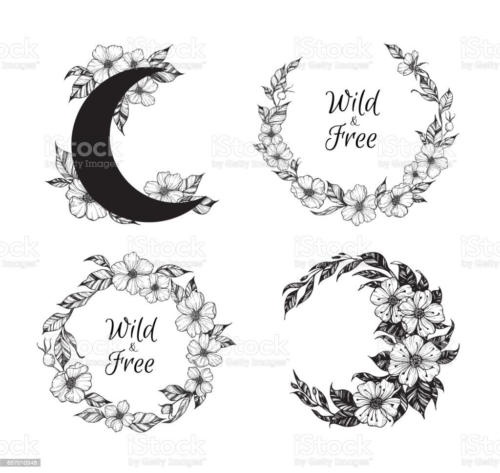 Ilustración De Mano Ilustración Vectorial Dibujada Coronas Y Luna