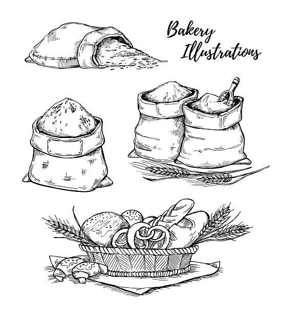 hand drawn vector illustrations - bakery. basket with pastry. - brotzopf stock-grafiken, -clipart, -cartoons und -symbole