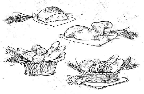 hand drawn vector illustration-bäckerei. lebensmittelladen - brotzopf stock-grafiken, -clipart, -cartoons und -symbole