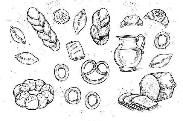 hand drawn vector illustration-bäckerei. lebensmittelladen. - brotzopf stock-grafiken, -clipart, -cartoons und -symbole