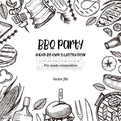 Hand drawn vector illustrations. BBQ collection. Barbeque design elements in sketch style. Fast food.  Perfect for menu, prints, packing, leaflets, advertising