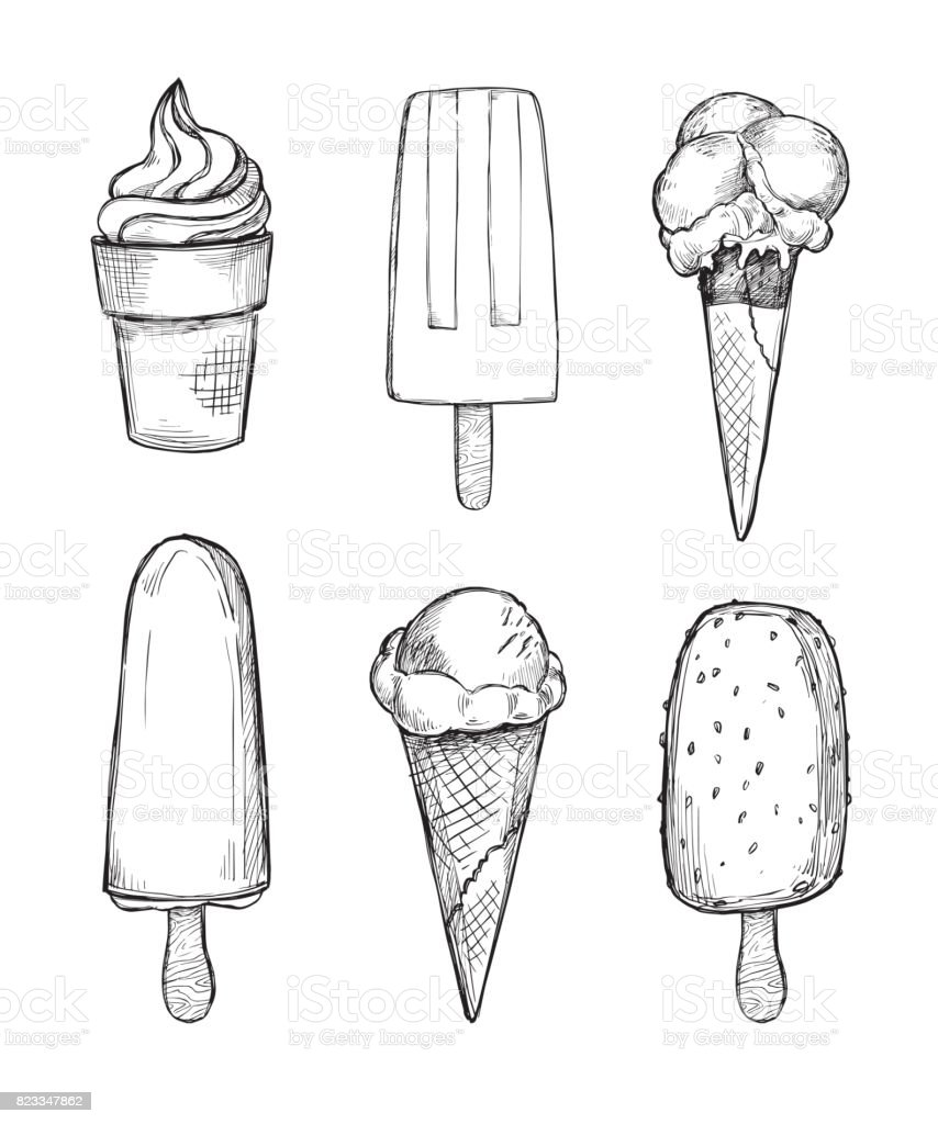 Hand drawn vector illustrations - Collection of ice cream and gelato. Perfect for advertising, print, fabric, postcard, flyer etc vector art illustration