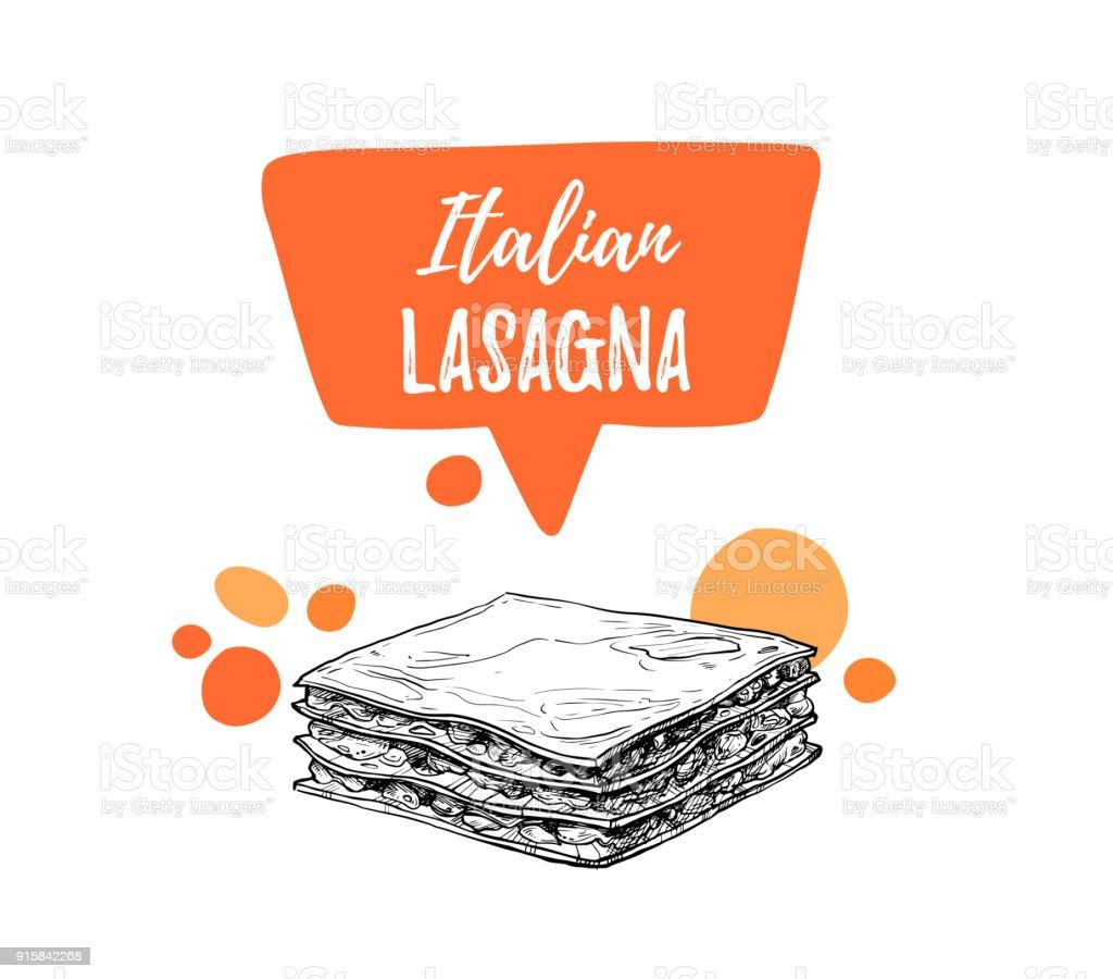 Handgezeichnete Vektorillustrationen Designvorlage Lasagne ...