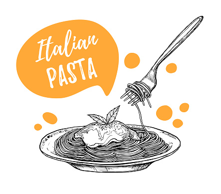 Hand drawn vector illustrations. Design template - Pasta. Italian food. Design elements in sketch style. Perfect for menu, delivery, blogs, restaurant banners, prints etc