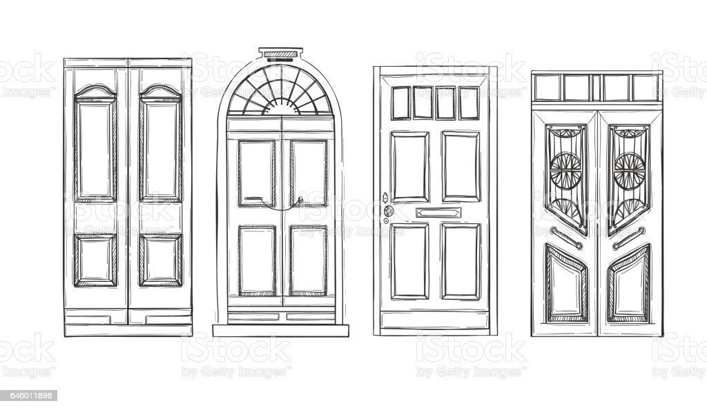 Hand Drawn Vector Illustrations Old Vintage Doors Isolated