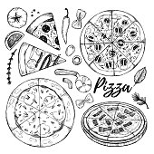 Hand drawn vector illustrations. Pizza. Italian food (pizza, olives, tomato, basil, herbs). Design elements in sketch style. Perfect for menu, delivery, blogs, restaurant banners, prints etc