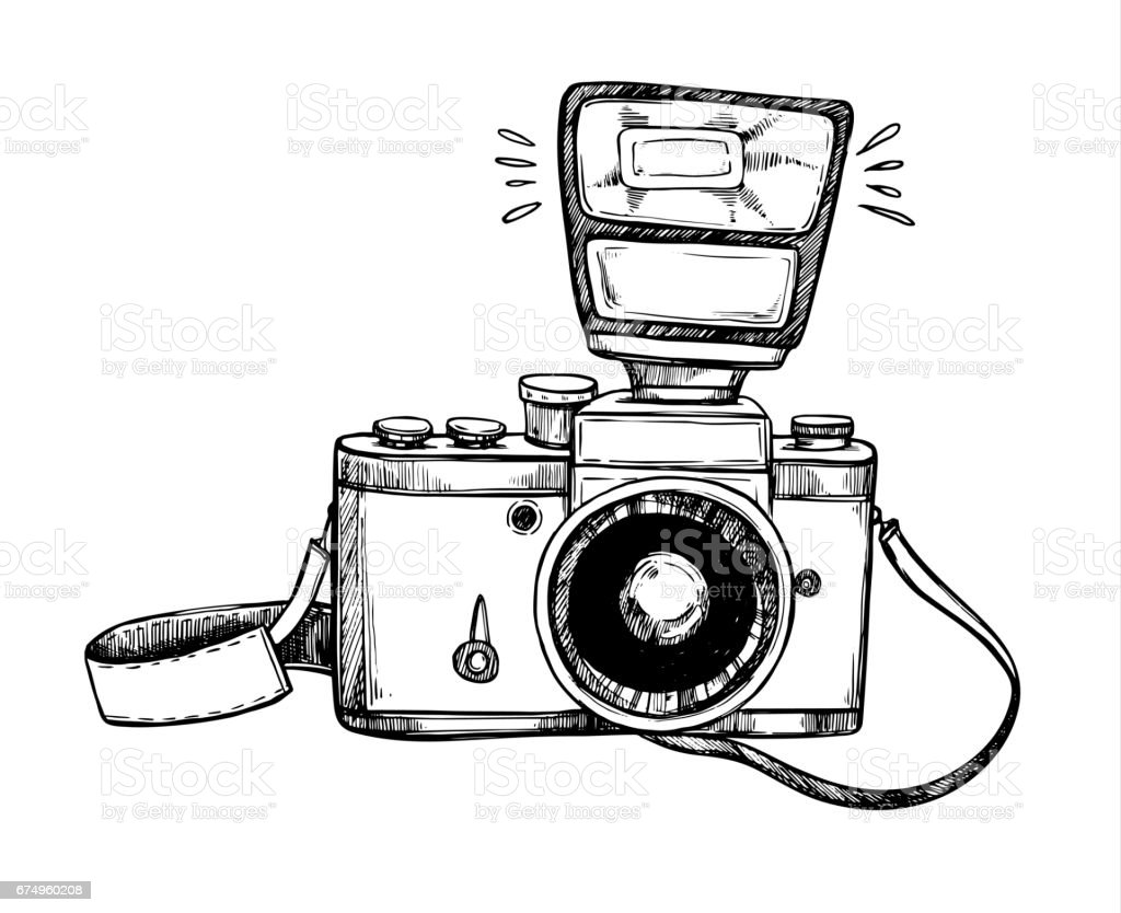 Hand Drawn Vector Illustrations Retro Camera With Flash