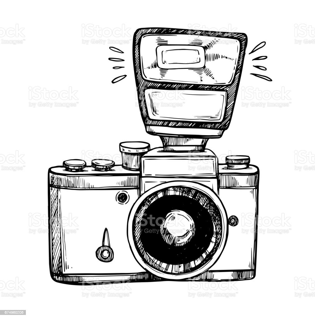 Hand Drawn Vector Illustrations Retro Camera With Flash Photographic