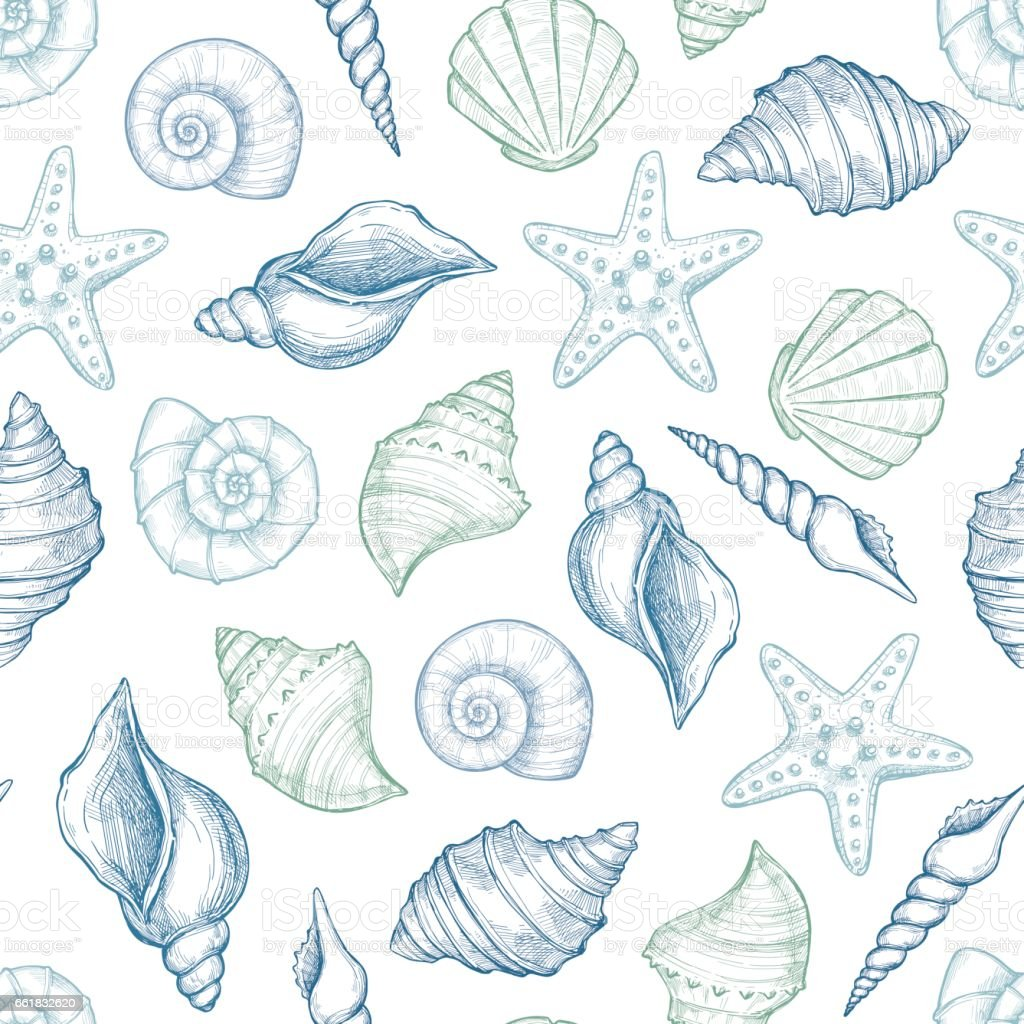 Hand drawn vector illustrations - seamless pattern of seashells.  Marine background. Perfect for invitations, greeting cards, posters, prints, banners, flyers etc vector art illustration