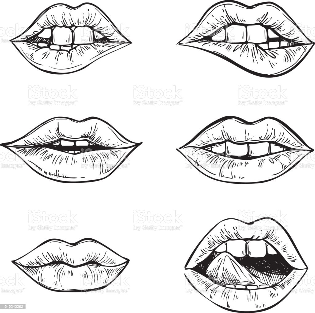 hand drawn vector illustrations sweet lips mouth with teeth female