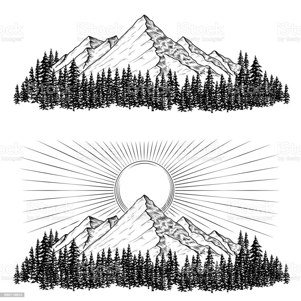 Hand drawn vector illustrations the mountains with a coniferous forest on them and the sun vector art illustration