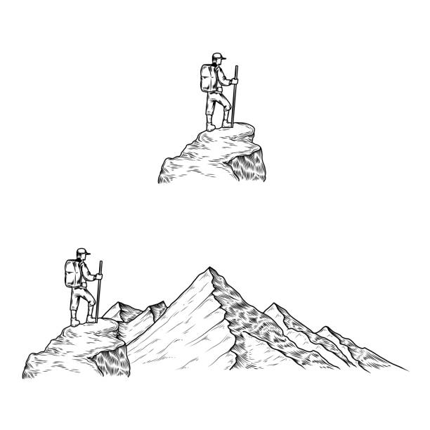 Hand drawn vector illustrations the mountains with a tourist Set of hand drawn vector illustrations the mountains with a tourist in engraving style adventure drawings stock illustrations