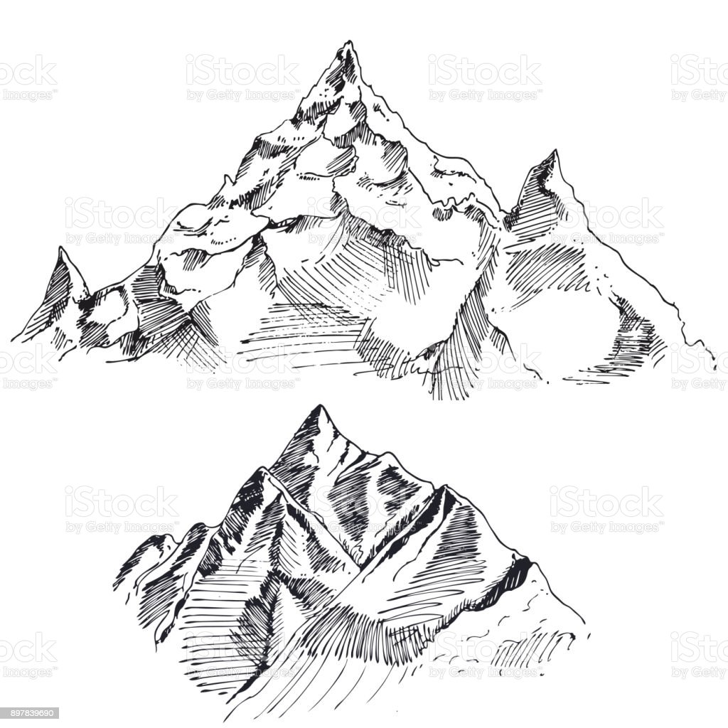 Hand drawn vector landscape with forest and mountains. sketch. vector eps 8 vector art illustration