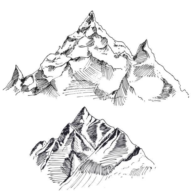 Handgezeichnete Vektor Landschaft mit ihren Wäldern und Bergen. Skizze. Vektor Eps 8 – Vektorgrafik