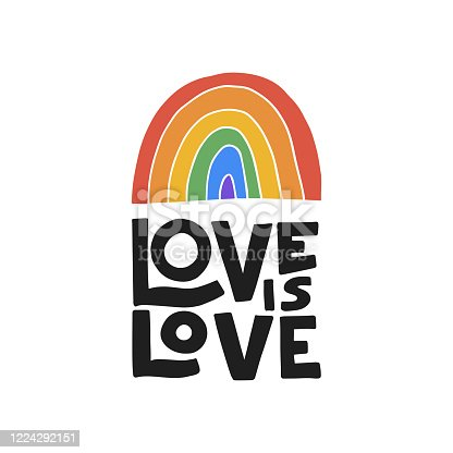 Hand drawn vector lettering. Pride day illustration. LGBT concept