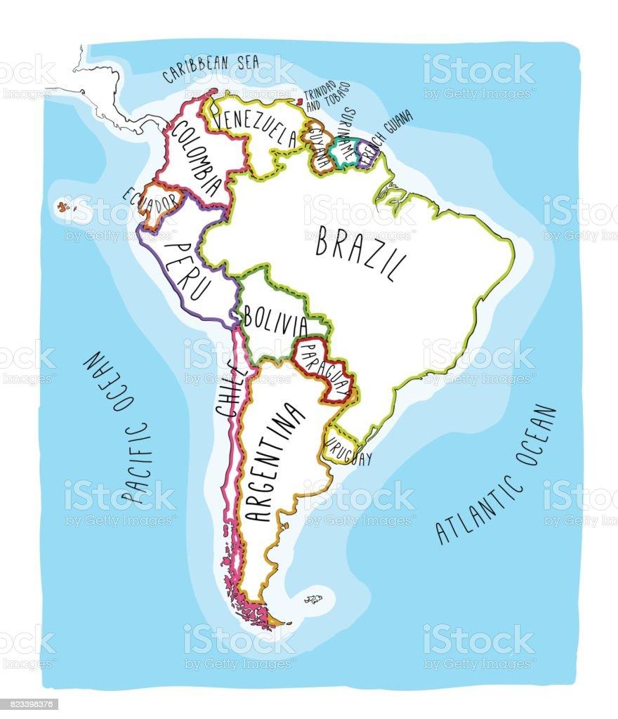 Mapa del vector dibujado de la mano de América del sur. - ilustración de arte vectorial