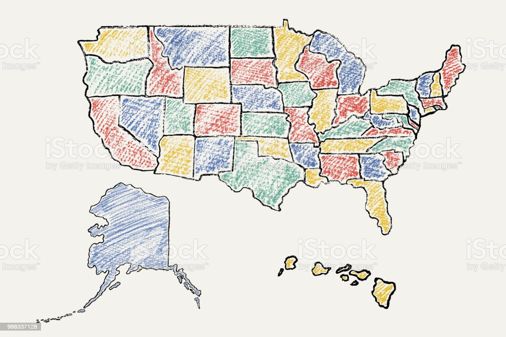 Hand Drawn Us Map.Hand Drawn Vector Map Of United States Of America Stock Vector Art