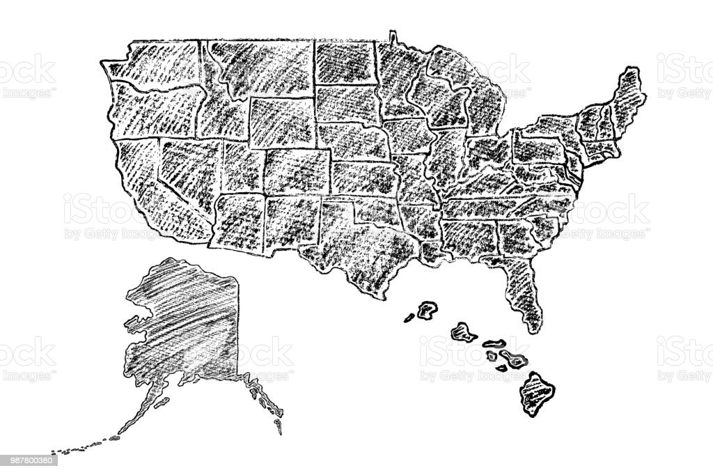 Hand Drawn Us Map.Hand Drawn Vector Map Of Usa Stock Vector Art More Images Of