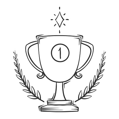 Hand drawn vector of award cup with wreath, isolated on white background.
