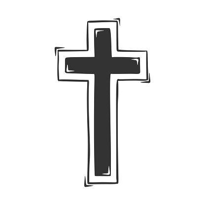 Hand drawn vector of religious cross.