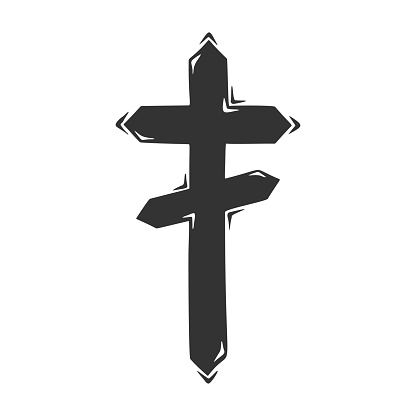 Hand drawn vector of religious cross, isolated on white background.
