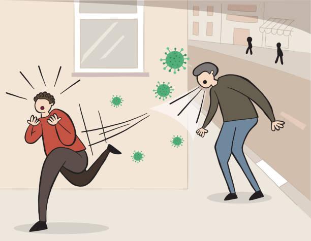Hand gezeichneter Vektor des Wuhan Corona Virus, covid-19. Mann niesen oder husten auf der Straße und andere Mann Angst und Weglaufen. – Vektorgrafik