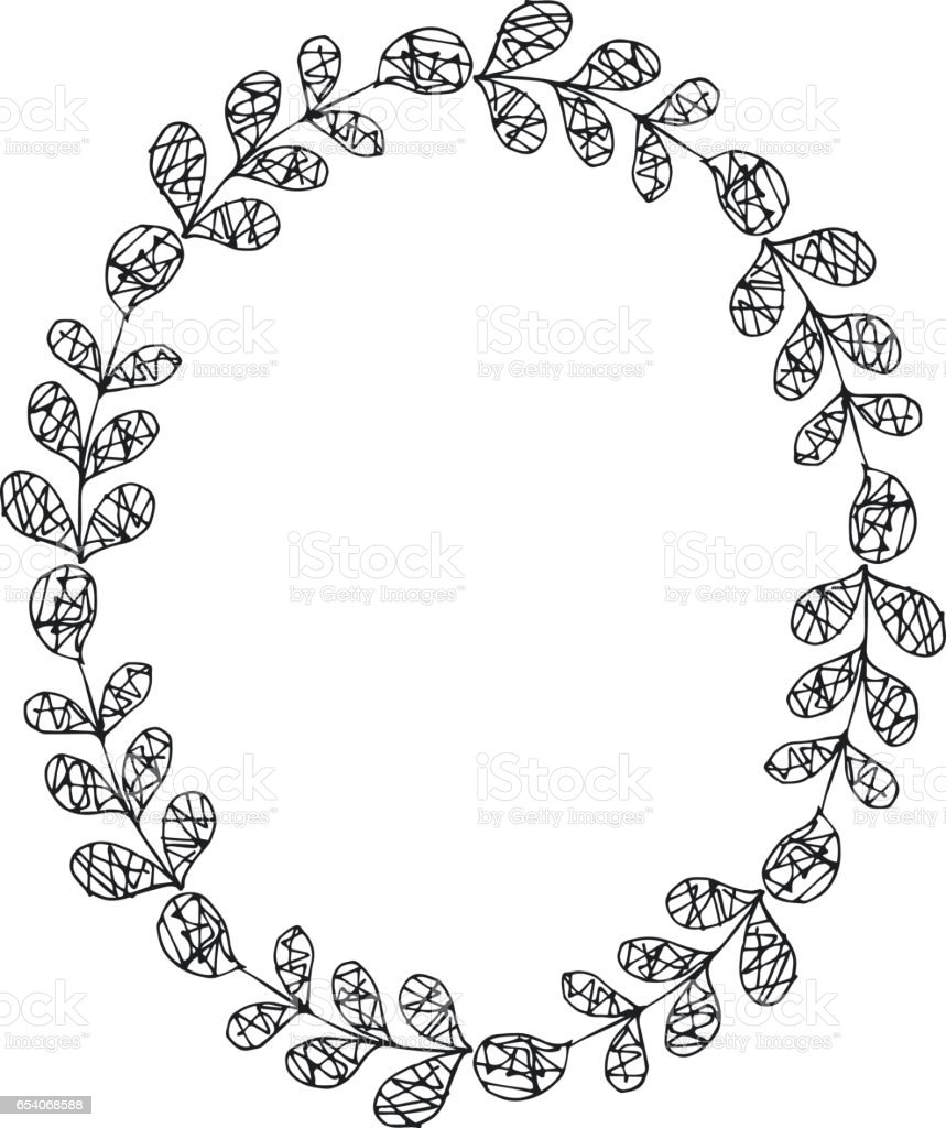 hand drawn vector oval decorative frame leaves and floral elements