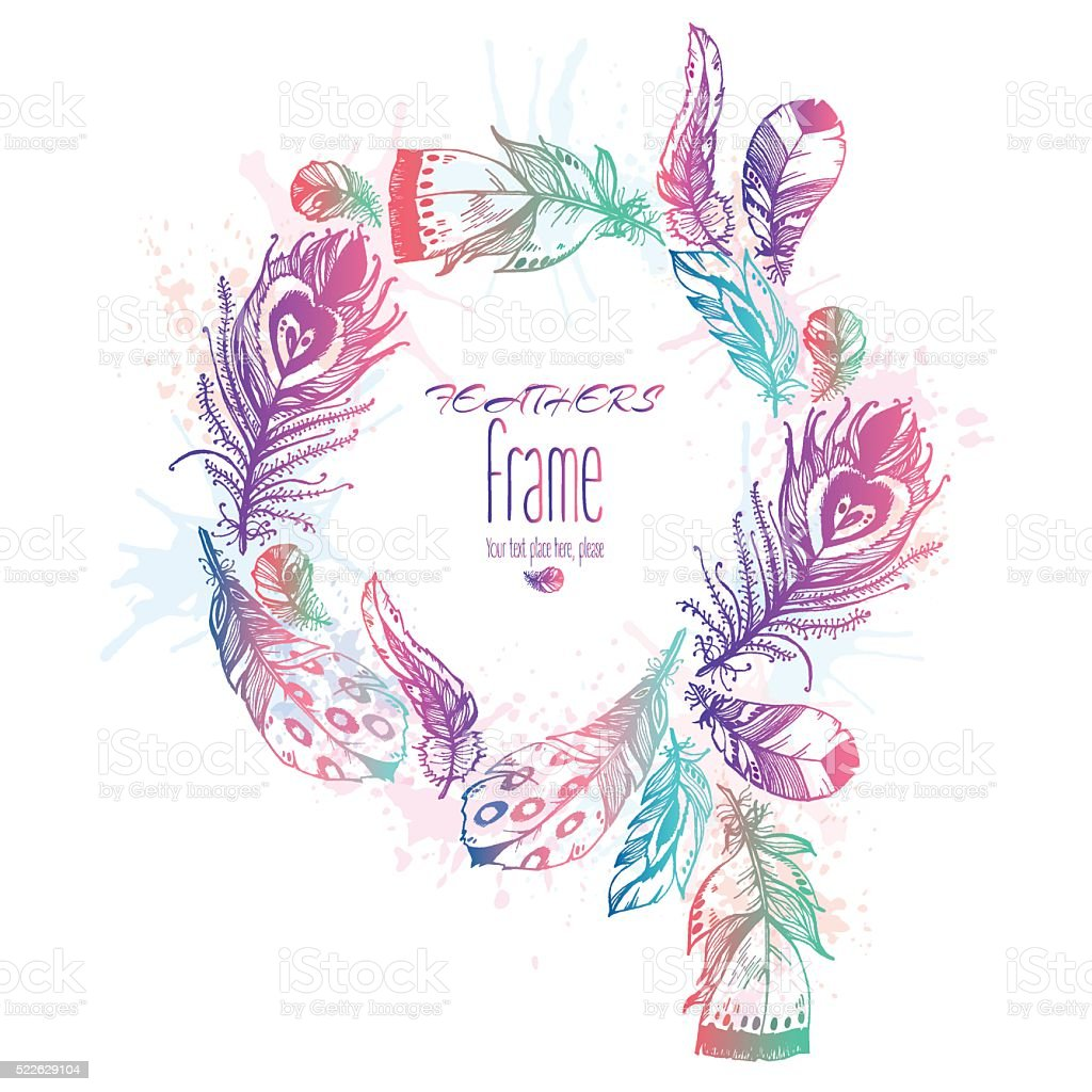 Hand Drawn Vector Painted Colorful Frame With Bird Feathers Gm52262910...
